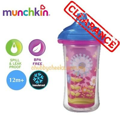 Stock Clearance : Insulated Munchkin Pink Floral Sippy Cup Click Lock