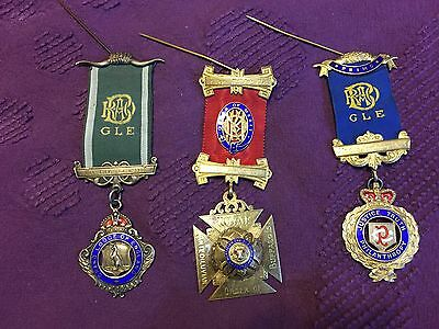 Lot Of 3 Royal Order Antediluvian Buffaloes -- England & Canada Medals