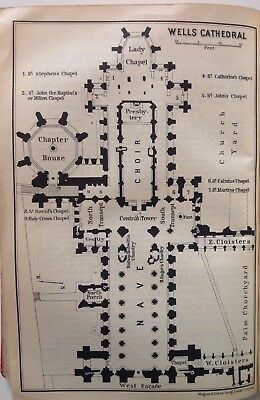 Wells Cathedral, Great Britain, 1910, Antique Vintage Street Map, Atlas