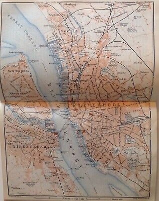 Birkenhead, Great Britain, 1910, Antique Vintage Street Map, Atlas