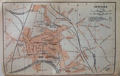Hereford, Great Britain, 1910, Antique Vintage Street Map, Atlas