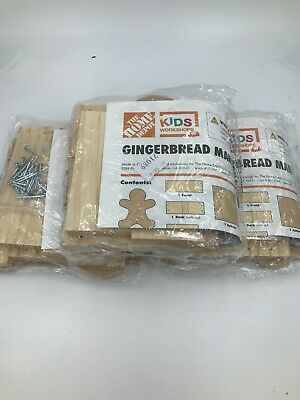 Home Depot Kids Workshop Wooden Gingerbread Man Candy Dish Project Kit NIP Lot 3