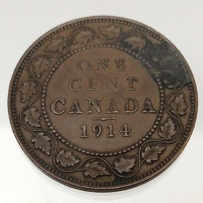 1914 Canada One 1 Cent Large Penny Copper Circulated Large Canadian Coin B539