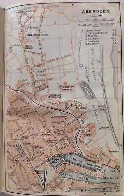 Aberdeen, Great Britain, 1910, Antique Vintage Street Map, Atlas