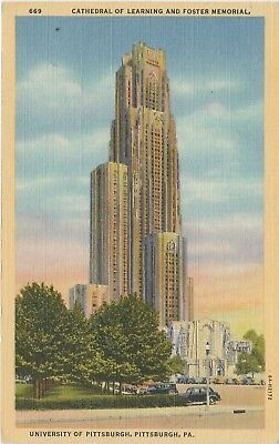 Pittsburgh PA Cathedral of Learning University of Pittsburgh Postcard Linen