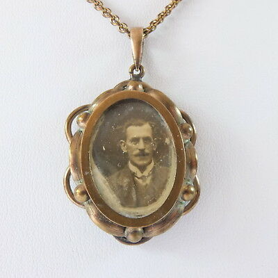 Antique Edwardian Ornate Oval Metal Double Sided Photo Locket Pendant & Chain