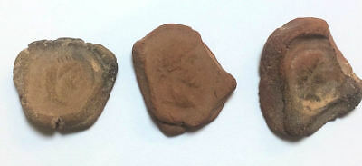 Lot of 3 Ancient Roman Egypt Theater Tokens c.1st-2nd Century AD.