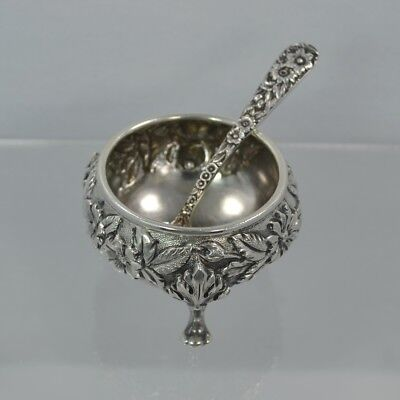 Repousse Sterling Silver S. KIRK & SON Salt Cellar and Sterling Repousse Spoon