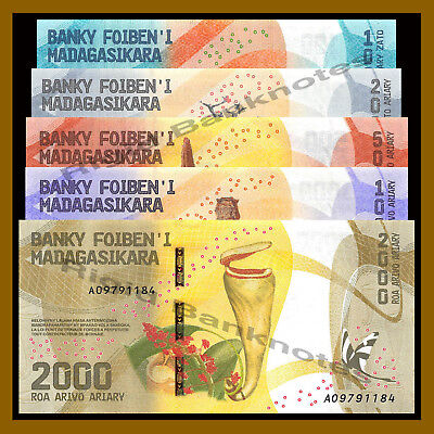 Madagascar 100 200  500 1000 2000 Ariary (5 Pcs Set), 2017 P-New Colorful Unc