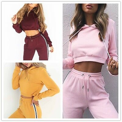 Womens 2Pcs Tracksuit Sweatshirt Pants Sets Hooded Crop Tops Jogging Sport Wear