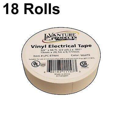"18 Rolls of White Electrical Tape 3/4"" X 66ft Trailer RV Wires LaVanture"