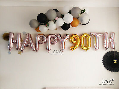 Happy 90th Rose Gold Balloons Silver Letters Birthday Banner Garland