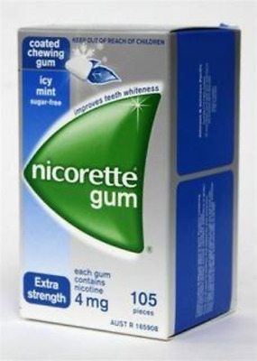 Nicorette Nicotine Gum 4mg Coated Icy Mint 4 Boxes 420 Pieces
