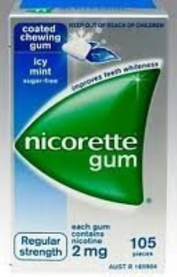 Nicorette Nicotine Gum Icy Mint 4 Boxes 420 Pieces 2mg