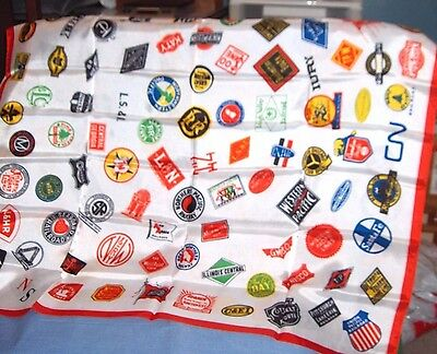 #423 - Large Silk-Like Head Scarf, Kerchief - Railroad Logos - Trains
