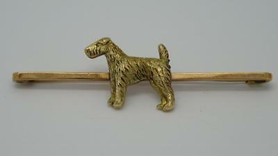 *Beautiful Antique 9ct Gold Airedale Terrier Dog Brooch by John Grinsell & Sons*
