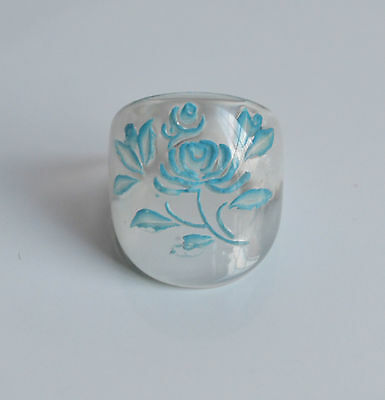 Vintage Reverse Carved Hand Painted Ring Ice Clear Plastic Blue Flowers Size 7