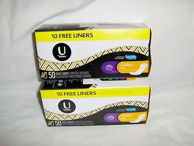 U by Kotex Extra Coverage Lightdays Liners - 50 Unwrapped Pantiliners x 2 Boxes