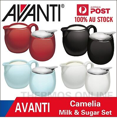 NEW AVANTI CAMELIA Milk & Sugar Set Stainless Steel Hinge Top Ceramic Bowl