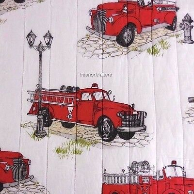 RYAN VINTAGE FIRETRUCK 3PC TWIN QUILT PILLOW SET Fire Engine Blue Red White NEW