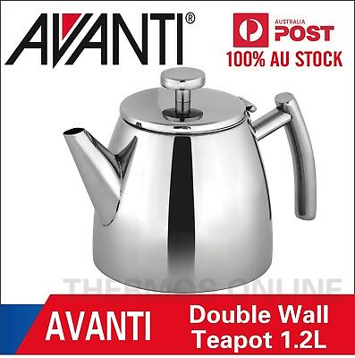 NEW AVANTI MODENA DOUBLE WALL STAINLESS STEEL TEAPOT 1.2 L Brew Herbal Infusion