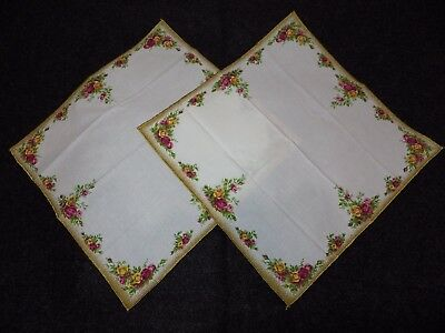 2 Napkins Country Roses Pattern 50/50 Gt. Britain Excellent Unused Condition