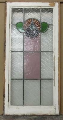 "MID SIZED OLD ENGLISH LEADED STAINED GLASS WINDOW Beautiful Floral 16.75"" x 34"""