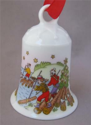 Hutschenreuther The Raftsmen Christmas Porcelain Bell Ornament Germany 1998
