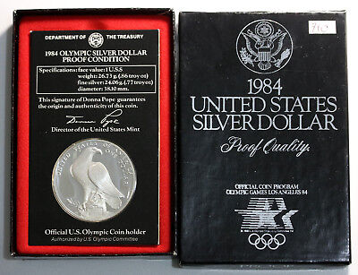 1984 US LA Olympics Silver Proof In Case of Issue KM# 210