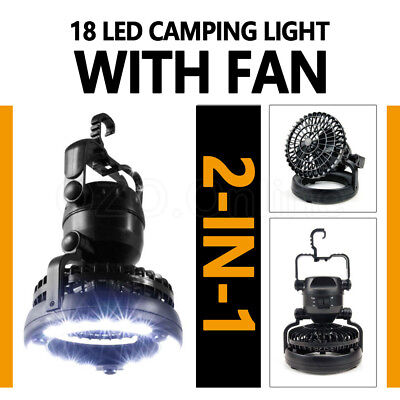 2in1 LED Light Camping Fan w/ Hanging Hook Weather Resistant Lamp Torch Portable
