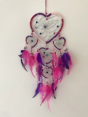 Blue Aqua & Pink Nylon Heart Dream Catcher Silver & Wood Beads 40cm Length