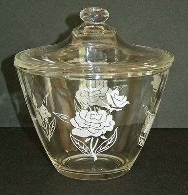 Vintage Floral & Clear Glass Storage / Refrigerator / Grease Bowl with Lid