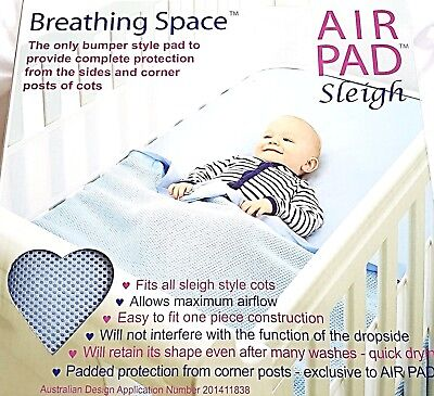 Sweet Dreams Breathing Space Air Pad Sleigh Cot Bumper Mesh Protection - SkyBlue