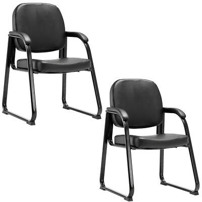Set of 2 PU Conference Chair Reception Guest Office Lecture Exam ArmChair New