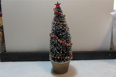 Glittered Bottle Brush Tree In Gold Pot - Vintage Mercury Glass Garland/star Cry