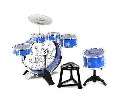 NEW 8 Piece Kids Music Drums Play Set w/ Drummer Seat - Blue, Non Toxic, Ages 3+
