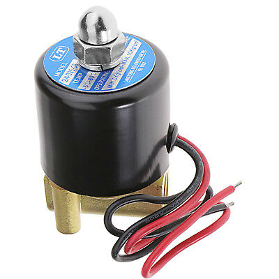 """DC 12V 1/4"""" Brass Electric Solenoid Valve N/C VITON Water Air Fuel 2 Way 2.5mm"""