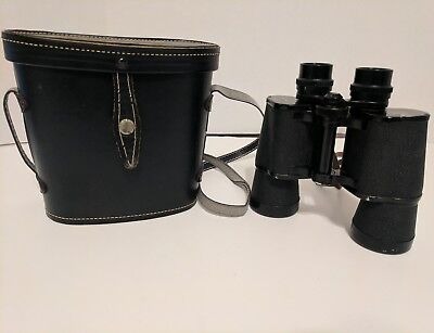 Vintage Binoculars Crown coated 7x50 Made in Japan 372ft at 1000yds leather Case