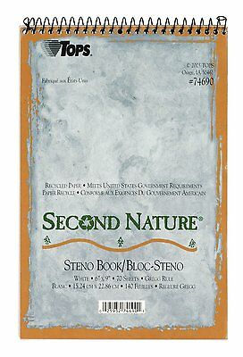 "TOPS Second Nature Spiral Steno Books Recycled 6x9"", 70 Sheets, 4 White Books"