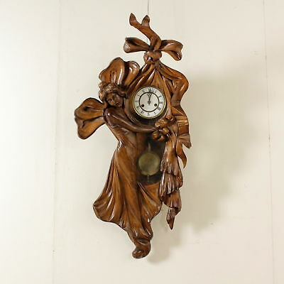 Wall Clock Iron Bronze Wood Manufactured in Italy 20th Century
