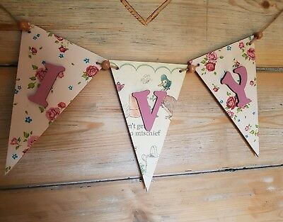 Personalised Wooden Beatrix Potter inspired Bunting Childs Name Boy Girl