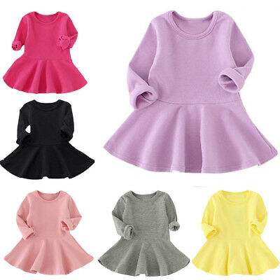 Casual Baby Girl Candy Color Long Sleeve Solid Princess Dress Toddler Kids Dress