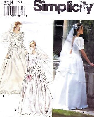 UC Simplicity Pattern 8240 Bridal Gown Peplum Train Plunge V-Back Sz 10 12 14