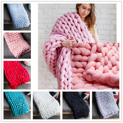 3 Size Hand Chunky Sofa Bed Knitted Blanket Thick Yarn Merino Wool Bulky Throw