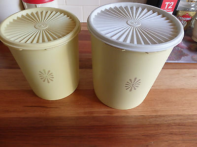 Two very practical Large Tupperware  round storage containers. Lemon colour.