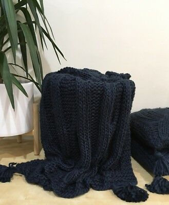 Navy Blue Chunky Cable Knit Throw Rug Couch Lounge Sofa Blanket Wool Acrylic