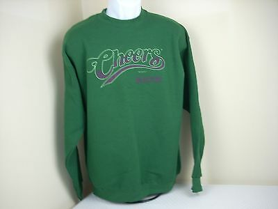 NEW Cheers Sweatshirt Large Green Crewneck VTG Authentic Official TV Show Logo