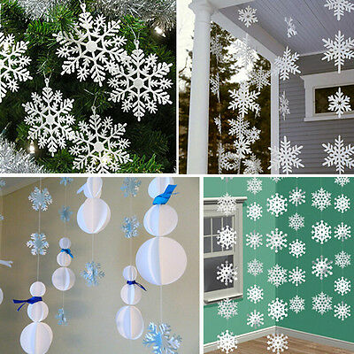 3m White Paper Material 3D Snowflake Pendant Garland Christmas Decoration UK