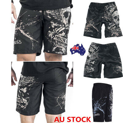 Men's Summer Quick-Dry Beach Pants Boardshorts Skull Printed Surf Shorts Board