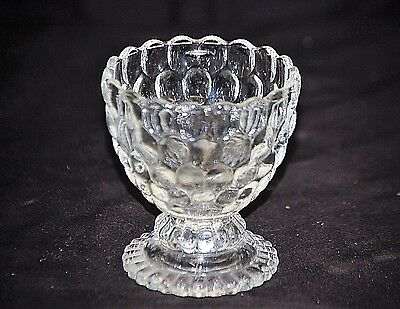 Old Vintage Ovalique by Avon Footed Small Candleholder Clear Raised Bubble Decor